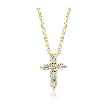 10KY Diamond Cross Prendant w/ 0.12 ctw