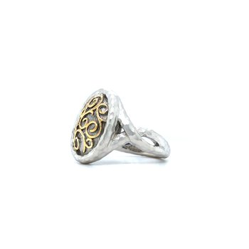 Sterling Silver & 18K Two Tone Fashion Ring, Size 7