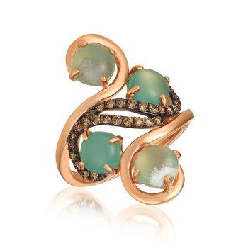 14KR Aquaprayes Candy & Diamond Ring w/ 2.46 ct Aqu. & 0.37 ct Dia., Size 7