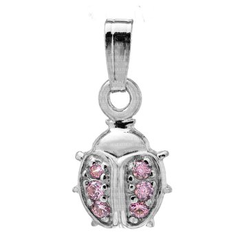 Sterling Silver Pink CZ Ladybug Pendant