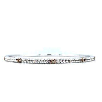 "Sterling Silver & 18KY Diamond Bangle w/ 0.05 ctw Size 7.5"""
