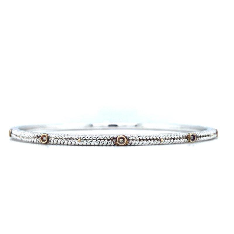 """Gabriel & Co. Sterling Silver & 18KY Diamond Bangle w/ 0.05 ctw Size 7.5"""""""