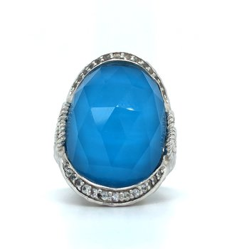 Sterling Silver White Sapphire, Rock Crystal, and Turquoise Ring, Size 7