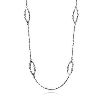 """Sterling Silver Station Bujukan Necklace 32"""""""