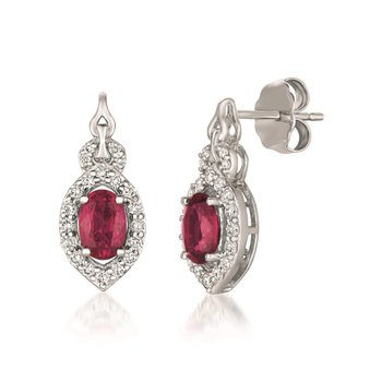 14KW Ruby and Diamond Earrings w/ 0.28 ct Dia. and 1.08 ct Ruby