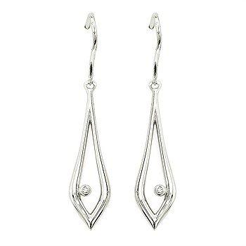 Sterling Silver Diamond Earrings w/ 0.02 ctw