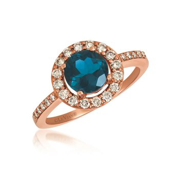 14KRG Deep Blue Topaz & Nude Diamond Ring, Size 7