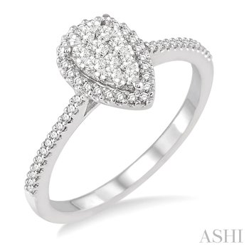 """14KW """"LoveBright"""" Diamond Pear Shape Engagement Ring w/ 0.35 ctw Size 6.5"""