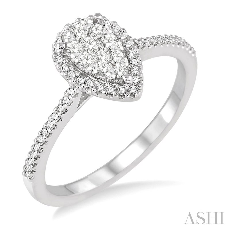 """Green Brothers Collection 14KW """"LoveBright"""" Diamond Pear Shape Engagement Ring w/ 0.35 ctw Size 6.5"""