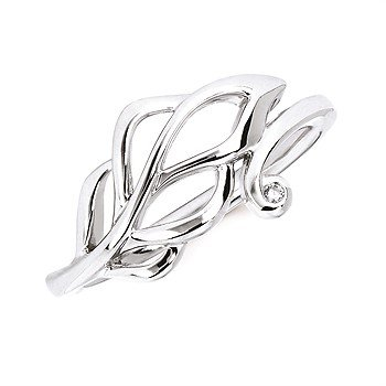 Sterling Silver Diamond Leaf Ring w/ 0.01 ctw, Size 7