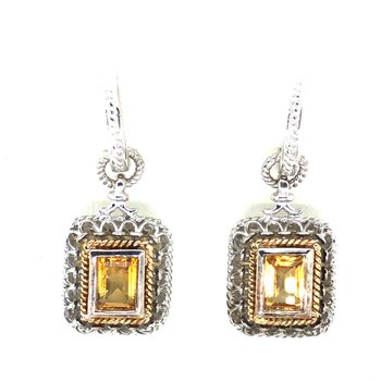 Sterling Silver & 18KY Citrine Fashion Earrings