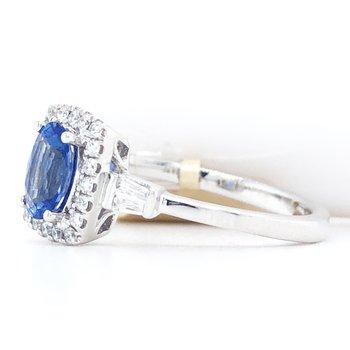 14KW Diamond & Celyon Sapphire Ring with Diamonds w/ 0.21 ctw Diamonds & 0.70 ctw Sapphire, Size 7