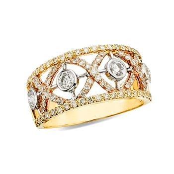 14K Two-Toned Diamond Wedding Band w/ 1.0 ctw