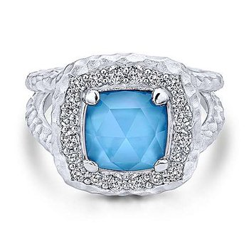 Sterling Silver Fashion Ring w/ Rock Crystal, White MOP, & Sapphire, Size 7