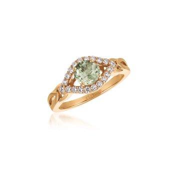 14KR Mint Julep Quartz & White Diamond Ring w/ 0.31 ct Dia. & 0.50 ct Quartz, Size 7