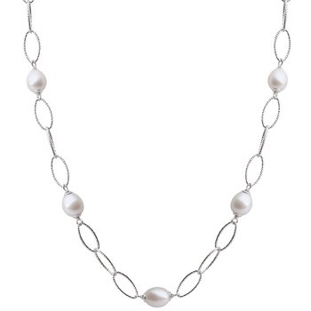 """Sterling Silver Freshwater Oval Cultured Pearl Station Necklace w/ 8.5 -- 9 mm Pearls, 16.5 -- 17"""" Chain"""
