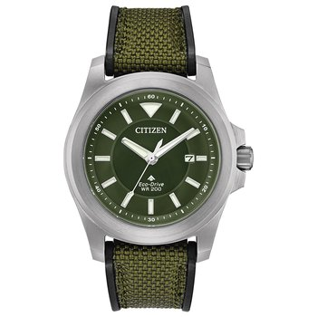 Stainless Steel Eco-Drive Watch w/ Green Face and Green Rubber Straps