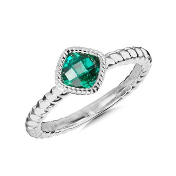 Sterling Silver Created Emerald Ring, Size 7