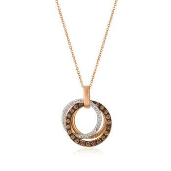 "14 KRG Chocolate & White Diamond Pendant w/ 0.47 ctw, 18"" Chain"
