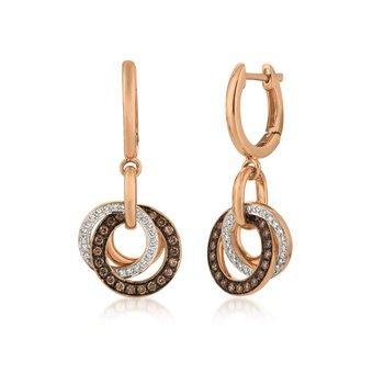 14KRG Chocolate & White Diamond Earrings w/ 0.47 ctw