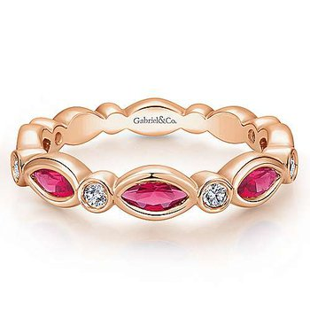 Stackable 14KR Ruby & Diamond Ring w/ 0.13 ctw