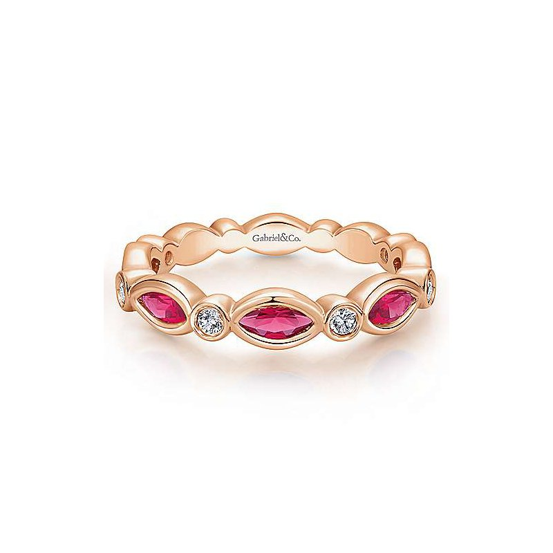 Gabriel & Co. Stackable 14KR Ruby & Diamond Ring w/ 0.13 ctw