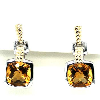 Sterling Silver Citrine Dangle Earrings w/ 18KY Accents