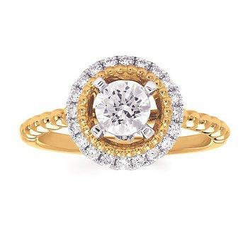 14KY Diamond Round Halo Beaded Shank Semi-Mount Engagement Ring w/ 0.22 ctw, Size 6.5