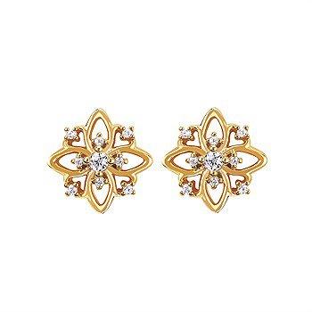 14KY Diamond Flower Stud Earrings w/ 0.10 ctw
