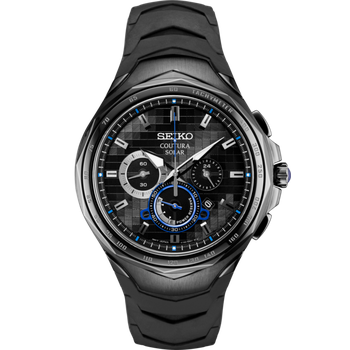 Stainless Steel Solar Chronograph Watch w/ Black Face and Lumibrite Hands, Sapphire Crystal, Silicone Straps