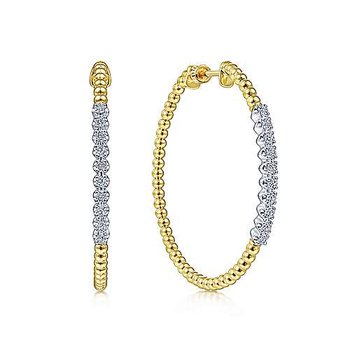 14KY Diamond Fashion Hoop Earrings w/ 0.44 ctw