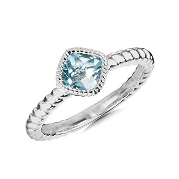 Sterling Silver Aqua Ring, Size 7