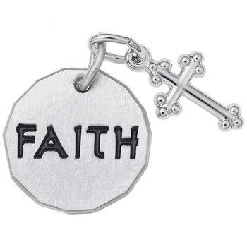Sterling Silver Faith Tag w/Cross
