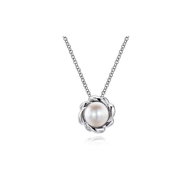 "Gabriel & Co. Sterling Silver Pearl Fashion Pendant, 18"" Chain"