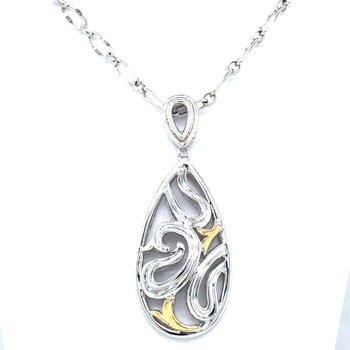 "Sterling Silver & 18KY Filigree Fashion Pendant w/ Chain 18"""