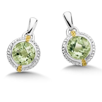 18K Two-Tone Sterling Silver Dangle Earrings