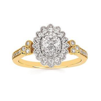 14K Two-Tone Diamond Diamond Cluster Ring w/ 0.41 ctw, Size 6.5