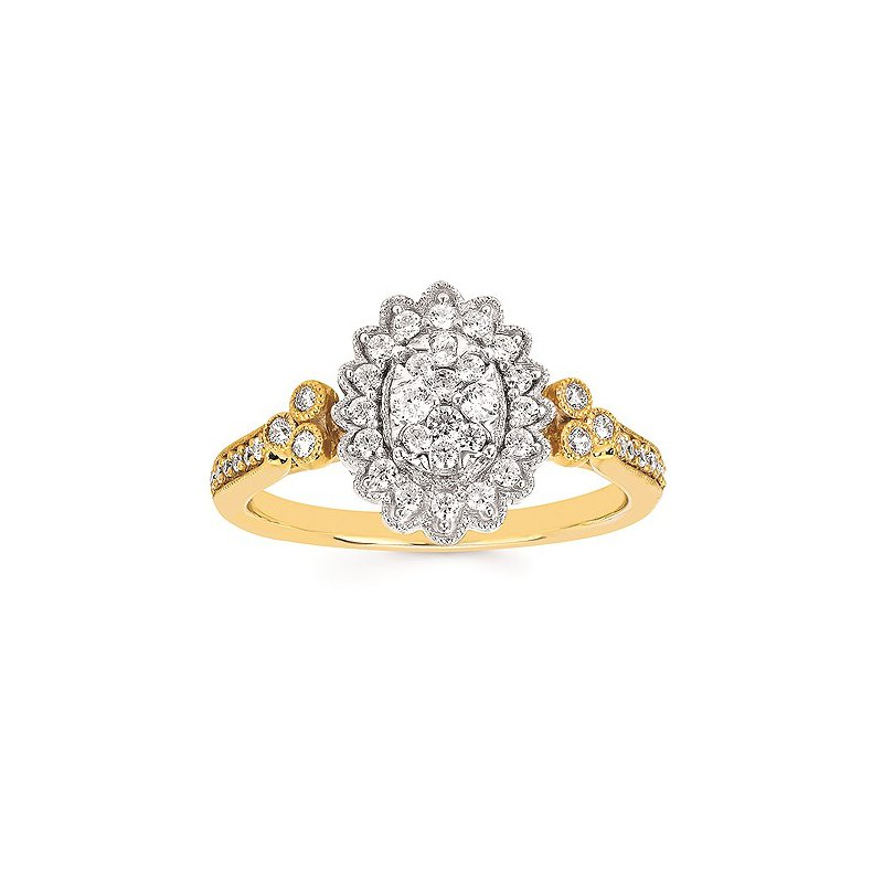 Green Brothers Collection 14K Two-Tone Diamond Diamond Cluster Ring w/ 0.41 ctw, Size 6.5