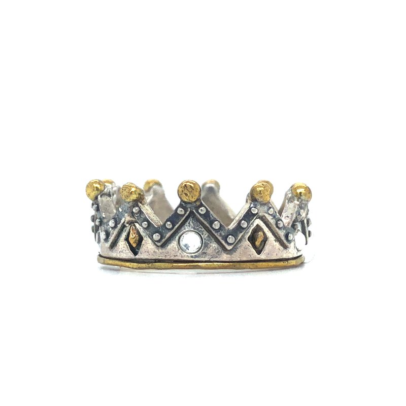 Waxing Poetic Tiara Stackable Ring 2-Tone w/ Crystals, Size 8