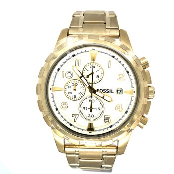 Stainless Steel Yellow-Tone Chronograph Watch