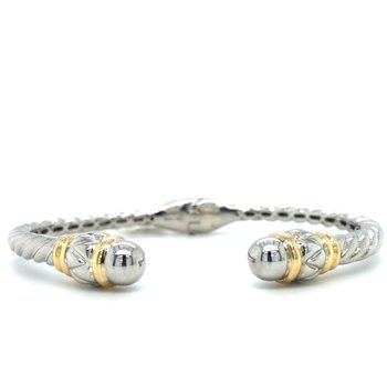 Sterling Silver Bangle Bracelet with 18K Accents
