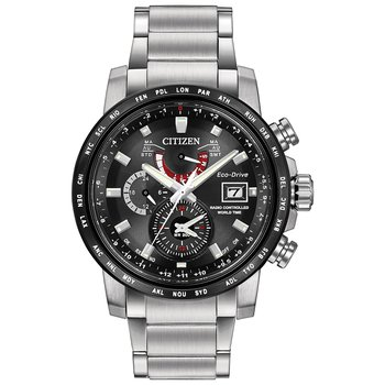 Stainless Steel Eco-Drive Chronograph Watch w/ Black Face and Tach