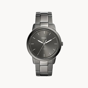 Stainless Steel Black-Toned Watch with a Gray Face