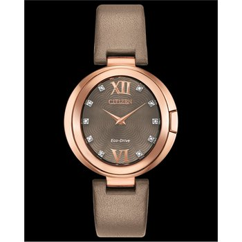 Stainless Steel Rose Tone Eco-Drive Watch w/ Genuine Diamonds and Leather Strap