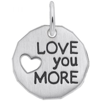 """Sterling Silver """"Love You More"""" Charm"""