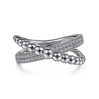 Sterling Silver White Sapphire Beaded Bujukan Criss-Cross Ring