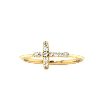 14KY Diamond Cross Ring w/ 0.09 ctw, Size 6.5