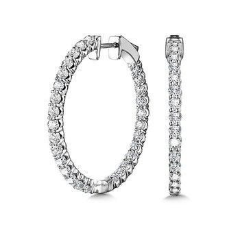 14KW Diamond Inside Out Medium Hoop Earrings w/ 2.0 ctw