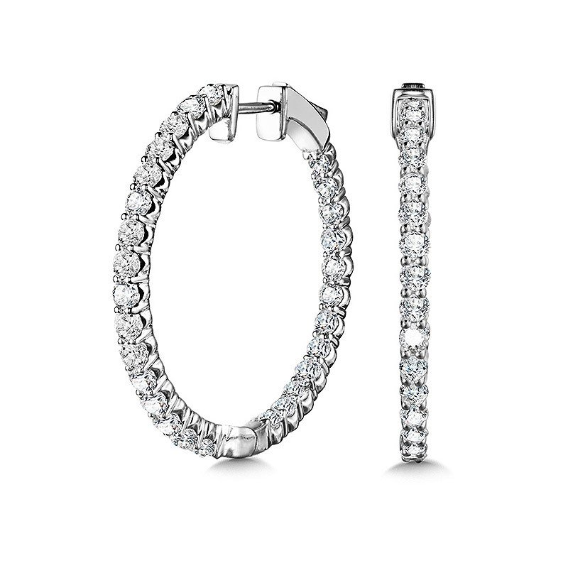 Green Brothers Collection 14KW Diamond Inside Out Medium Hoop Earrings w/ 2.0 ctw