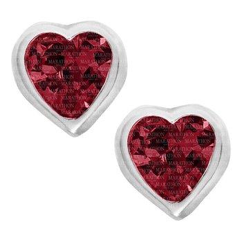 Sterling Silver July Birthstone CZ Heart Earrings